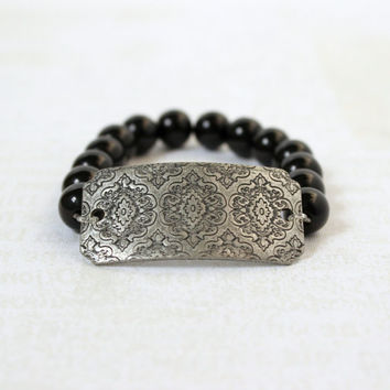 Brushed Silver and Black Beaded Etched Medallion Tag Stretch Bracelet - Bold Boutique Moroccan Inspired Jewelry - Ready to Ship