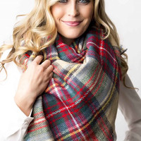 Lucky Duck Pretty in Plaid Blanket Scarf in Sand