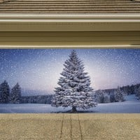 Christmas Garage Door Cover Christmas Tree Banners 3d Holiday Outside Decorations Outdoor Decor for Garage Door G69