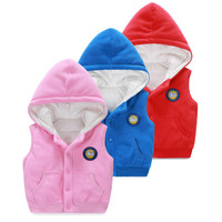 Spring Winter Fleece Baby Girls Vest Classic Baby Clothing For Boy Thicken Warm Hooded Cardigan Clothes Infant Toddler Outerwear