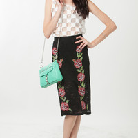 High Waist Floral Embroidered Lace Skirt