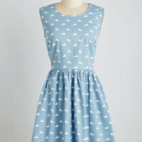 Nautical Mid-length Sleeveless A-line Whale Alrighty Then Dress