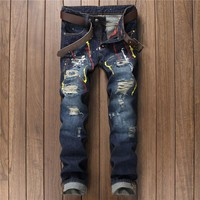 2017 Mens Jeans Paint Pants Track Punk Robin Skinny Jean Hip Hop Ripped Zippers Nightclubs Trousers Young Man Korean Streetwear