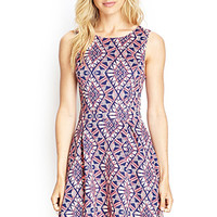 LOVE 21 Scuba-Knit Geo Print Dress Navy/Peach Medium