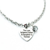 Father Daughter Jewelry - Daughter Gift - Daughter Necklace  - Daddys Girl - Heart Charm Bracelet - Stainless Steel - Forever Daughter