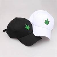 Trendy Winter Jacket 2018 New Fashion Embroidery  Leaf White Cap  Snapback Hats For Men Women Hip Hop Fitted Baseball Caps AT_92_12