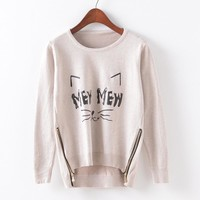 Knit Round-neck Cartoons Pullover Zippers Sweater [9101525959]