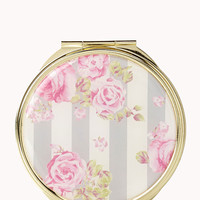 Striped Floral Mirror Compact