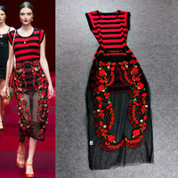 Red Striped  Mesh Knit Flower Embroidered Sheer Midi Dress