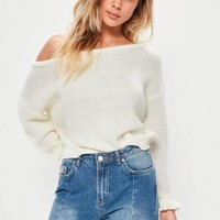 Missguided - Cream Off Shoulder Cropped Sweater