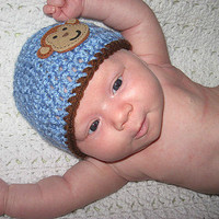 Blue Monkey or Green Frog Hat NB, 0-3, 3-6  6-12 Months  Baby Shower Gift, Infant, Perfect Photo Prop