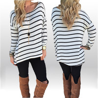 Striped Long Sleeves Scoop Casual Long Blouse