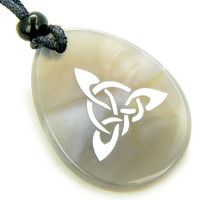 Magic Celtic Triquetra Knot Amulet Natural Agate Stone Pendant Necklace