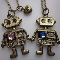 ROBOTS IN LOVE Pair of Robot Necklaces with by lovespelljewels