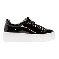 Black Patent Leather Platform Sneakers