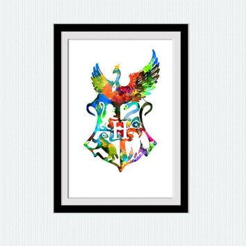 Hogwarts Crest watercolor print, Harry Potter colorful poster, Hogwarts crest wall art illustration, home decor gift, nursery, W134