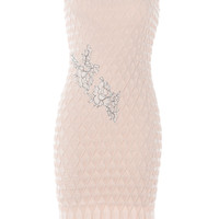 Floral Embroidered Smocked Sheath Dress