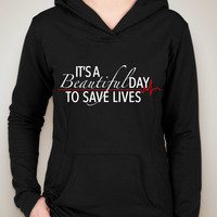 """Grey's Anatomy """"It's A Beautiful Day To Save Lives"""" Unisex Adult Hoodie Sweatshirt"""