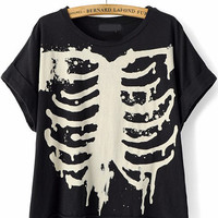 Black Short Sleeve Skeleton Print T-Shirt