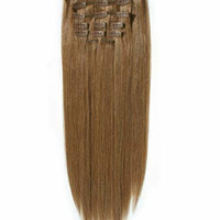 """14"""" 100% Remy Clip In Hair Extensions Light Brown"""