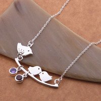 Love Bird necklace, wedding jewelry, gift for mom, wife, silver filled necklace, girlfriend and best friends