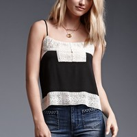 House of Harlow Hook and Eye Front Crochet Trim Cami Tank Top - Womens Shirts - Black