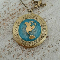 You mean the World to me... Earth locket, Travelers necklace, round brass locket.