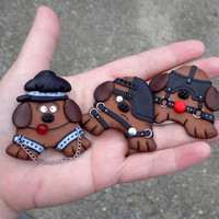 Funny fridge magnets refrigerator hand made polymer clay kitchen decore cool weird funny gag gift gifts geekery dog BDSM