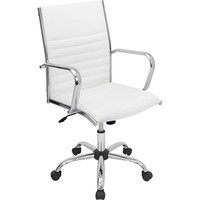 LumiSource OFC-AC-MSTR W Leatherette Mid-Back Master Task Chair with Fixed Arms, White | Staples