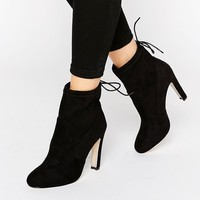 Glamorous Tie Back Heeled Ankle Boots