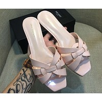 samplefine2 YSL Yves Saint Laurent chunky heel with women's shoes open toe sandals F-AHD-HNXG-ZD pink