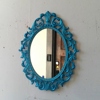 Princess Wall Mirror - Decorative Vintage Frame in Shimmering Aqua - 13 by 10 inches