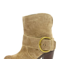 Very Volatile Lilly Olive Leather Belted High Heel Boots