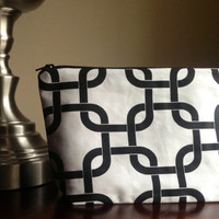 Make up cosmetic bag zipper pouch clutch  black by BlueBearDesigns