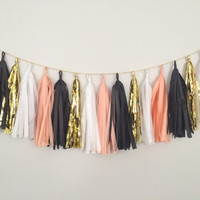 Peach, Gold, White and Black Tassel Garland Banner - Peach Party Decor Banner, Birthday Decoration, Wedding Decor, Halloween & Thanksgiving