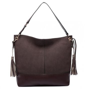 LEATHER TASSEL SLOUCH HOBO BAG COFFEE