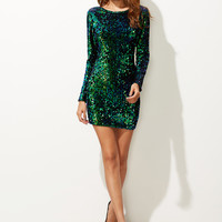 Green Iridescent Long Sleeve Sequin Bodycon Dress -SheIn(Sheinside)