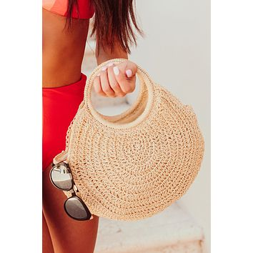 Shore Thing Woven Raffia Handbag (Ivory)
