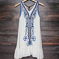 Final Sale - Ethereal Embroidered & Hand Beaded Bohemian Dress in Ivory