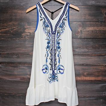 X Shophearts - Ethereal Embroidered & Hand Beaded Bohemian Dress in Ivory