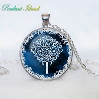 TREE OF LIFE Pendant  Tree of life Necklace   Blue Turquoise White Silver Jewelry Necklace for him  Art Gifts for Her(P3H02V05)