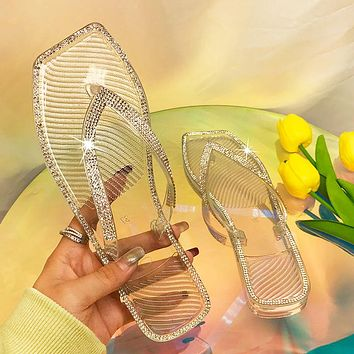 New color diamond square head flat crystal jelly flip-flops
