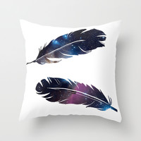 Galaxy feather Throw Pillow by Sherry Yuan