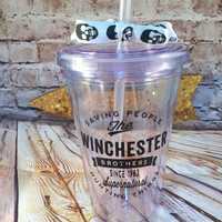Supernatural Inspired Winchester Brothers tumbler 16oz SPN