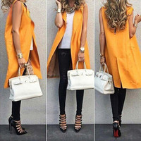 New Fashion Long Vest Jacket For WomenTurn Down Collar Sleeveless Orange Trench Coat Ladies Waistcoat Veste Femme Outwear