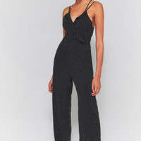 Pins & Needles Polka Dot Ruffle Faux Wrap Jumpsuit | Urban Outfitters
