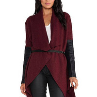 Red Coat with PU Detail