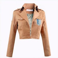 Cool Attack on Titan New no  Jacket  Scouting Legion Cosplay costume Trainee Corps Jacket for Halloween party AT_90_11