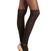 Scalloped Knee Fashion Tight: Charlotte Russe