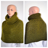 Knitted Wool Cowl/ Handmade High Fashion Cowl/ Olive Green Cowl